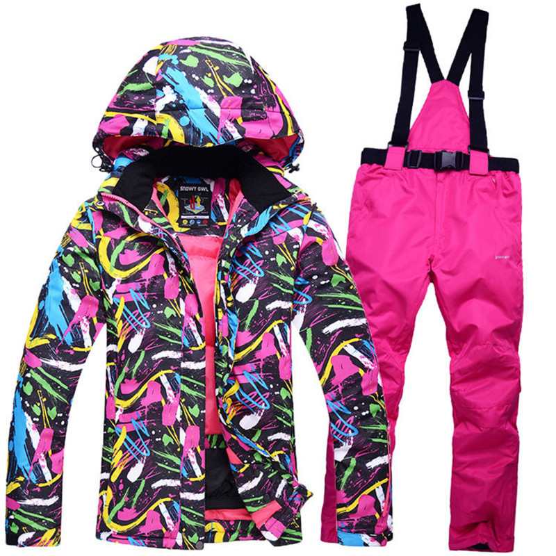 New Cheap Snow custome Women Ski suit sets snowboard Clothing waterproof & windproof winter -30 warm Snow jacket + Bib pants