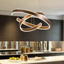 AC90 264VModern kolye ışıkları oturma odası yemek odası için Geometri Daire Yüzük akrilik alüminyum gövde LED aydınlatma tavan lambası