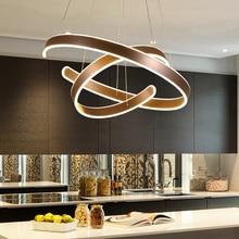 AC90 264VModern luzes pingente para sala de estar jantar geometria círculo anéis corpo alumínio acrílico conduziu a iluminação da lâmpada do teto