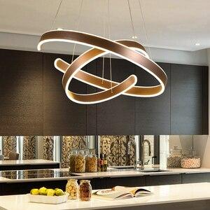 Image 1 - AC90 264VModern pendant lights for living room dining room Geometry Circle Rings acrylic aluminum body LED Lighting ceiling Lamp