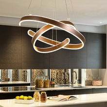 AC90 264VModern قلادة أضواء لغرفة المعيشة غرفة الطعام الهندسة دائرة خواتم الاكريليك الألومنيوم الجسم LED مصباح لإنارة السقف