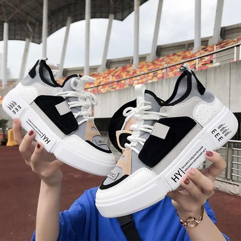 Стильная женская повседневная обувь для влюбленных; кожаные кроссовки на платформе; кроссовки на толстой подошве в стиле Харадзюку; белая корзина на танкетке; прогулочная обувь