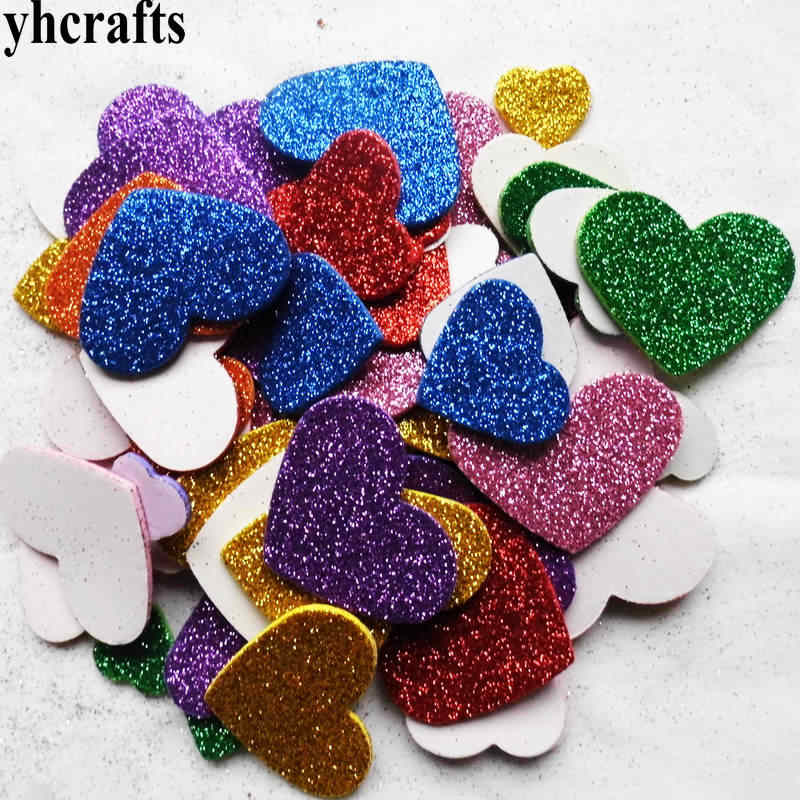 50PCS/LOT.Mixed glitter heart foam stickers Baby room decoration Early learning educational toys Kindergarten craft diy toys OEM