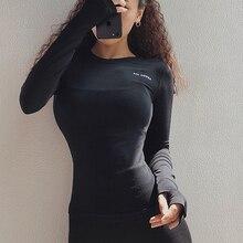 SALSPOR, сексуальные женские спортивные рубашки с буквенным принтом, одноцветные, высокоэластичные, для спортзала, йоги, для бега, дышащие Футболки с длинным рукавом