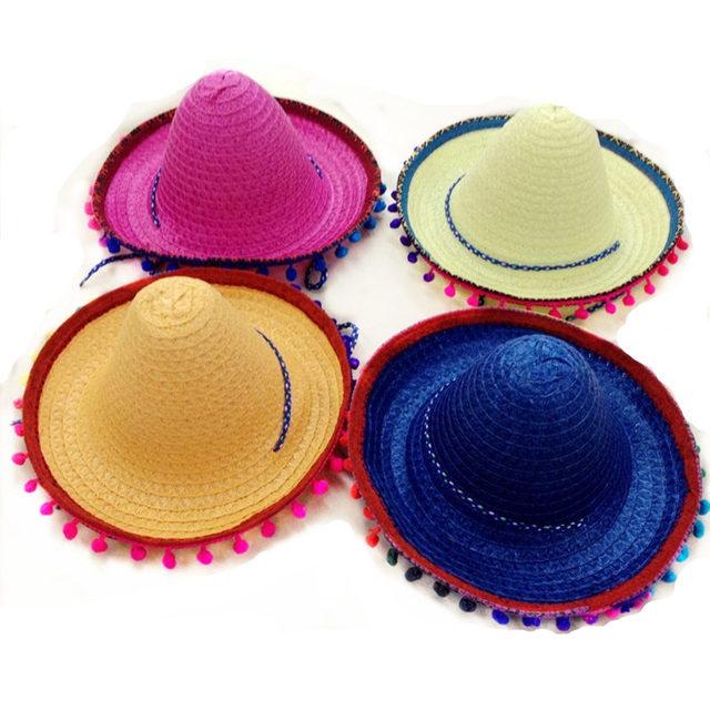 2019 real mejor calidad variedad de estilos de 2019 € 19.49 5% de DESCUENTO|Sombrero mexicano para niños, sombreros de paja,  accesorios de baile, Sombrero de fiesta pompón 6 unids/lote envío gratis en  ...