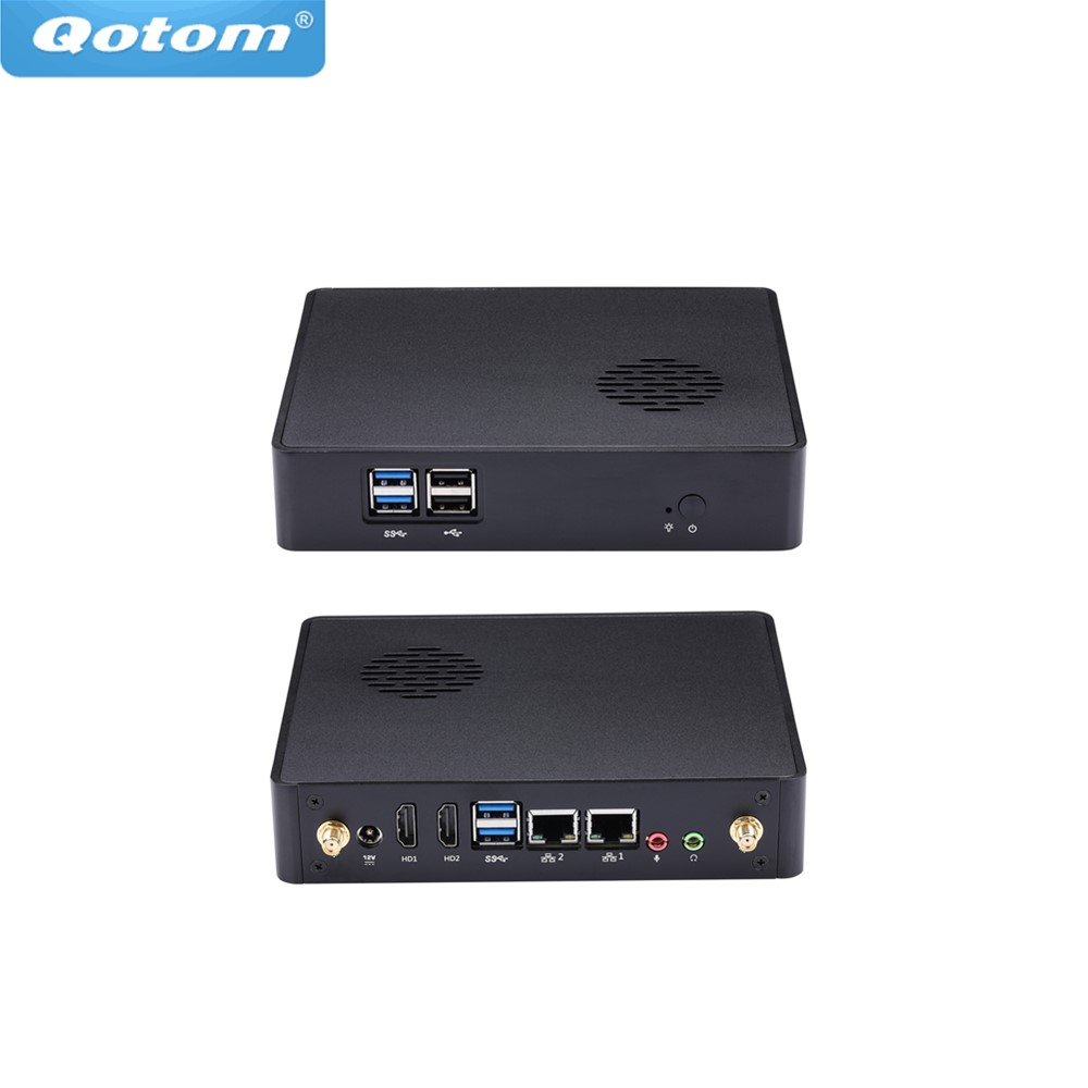 Free Shipping Qotom Small Fan Mini PC Q410S Celeron 3215U 1.7GHz SIM Slot, 3G/4G Dual Display Dual Lan Barebone