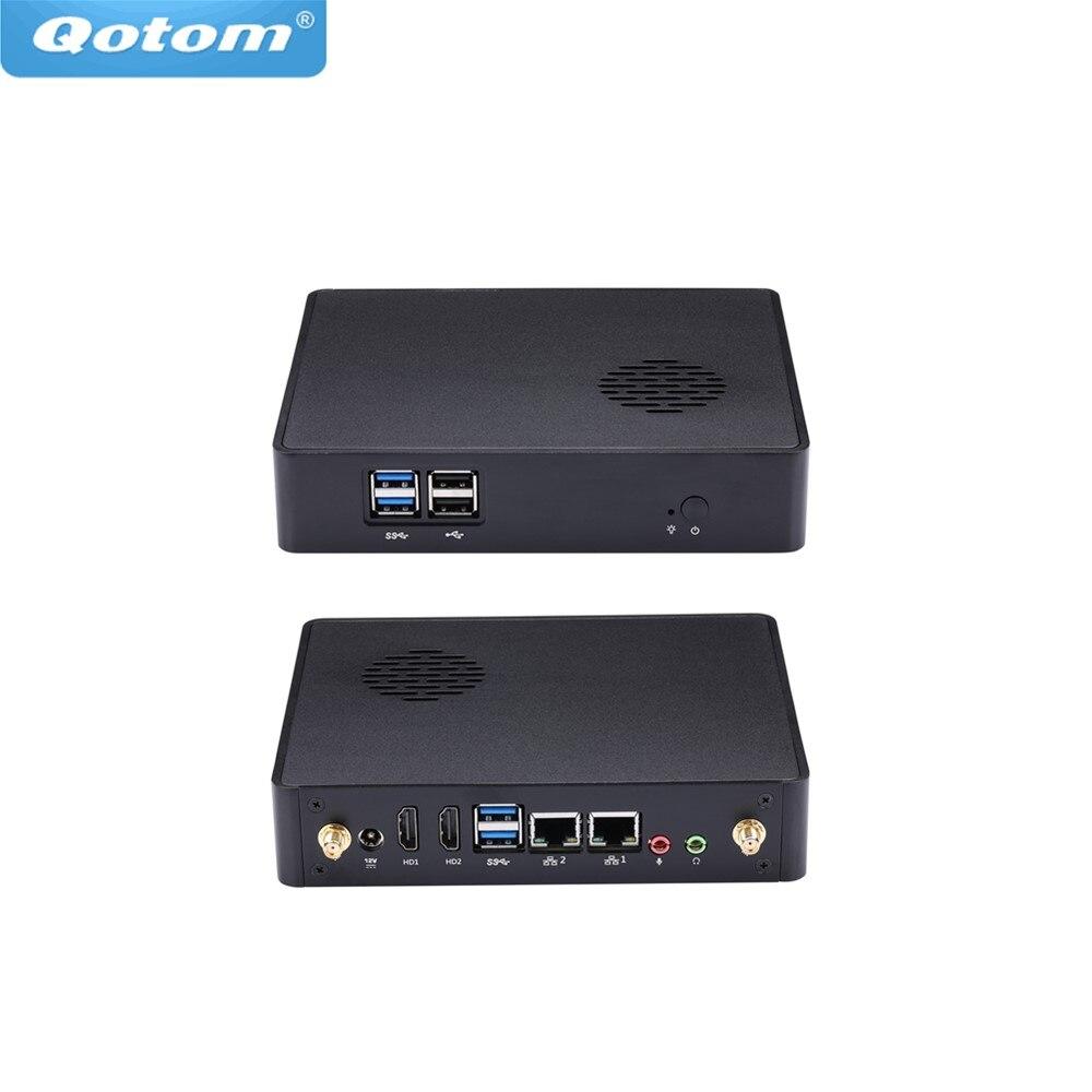 Livraison gratuite offre spéciale Qotom petit ventilateur Mini ordinateur Q430S Core i3-4005U 1.7 GHz emplacement SIM, 3G/4G double affichage Lan barebone