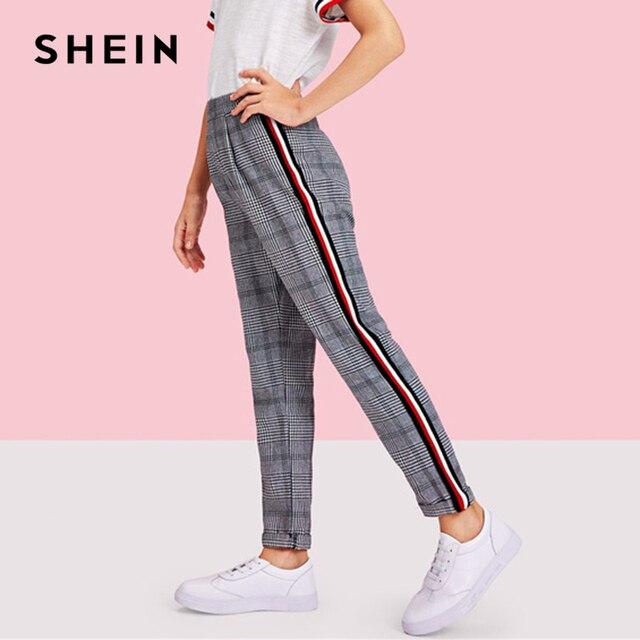 d27739e6cce9c SHEIN Kiddie Black Striped Side Elastic Waist Casual Plaid Girls Pants 2019  Spring Fashion Mid Waist Trousers Girl Pants