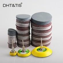 DHT& TIS 100 штук от 1 до 3 дюймов шлифовальный диск Круглый абразивный сухой наждачной бумаги+ 1 шт 3 мм хвостовик Задняя накладка(Выберите размер