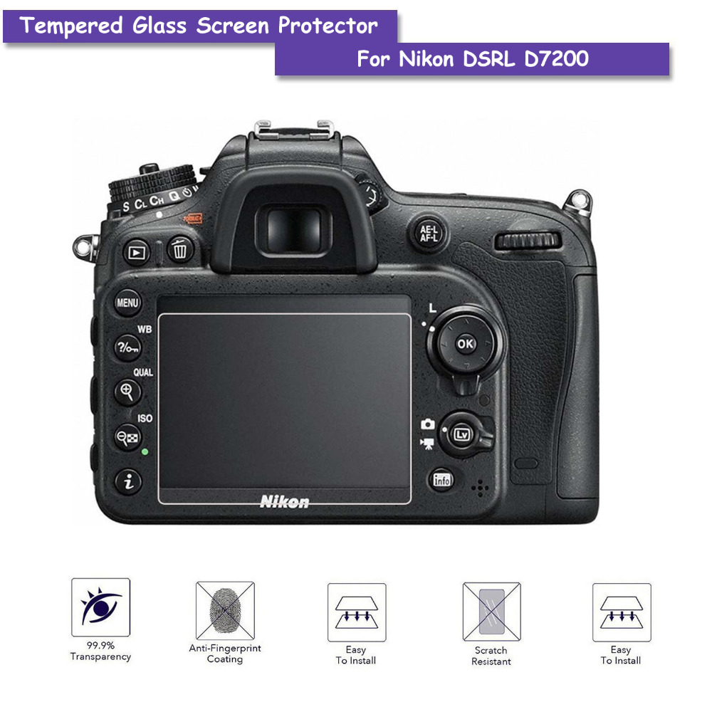 9H Tempered Glass LCD Screen Protector Shield Film for Nikon DSLR D7200 Camera Accessories