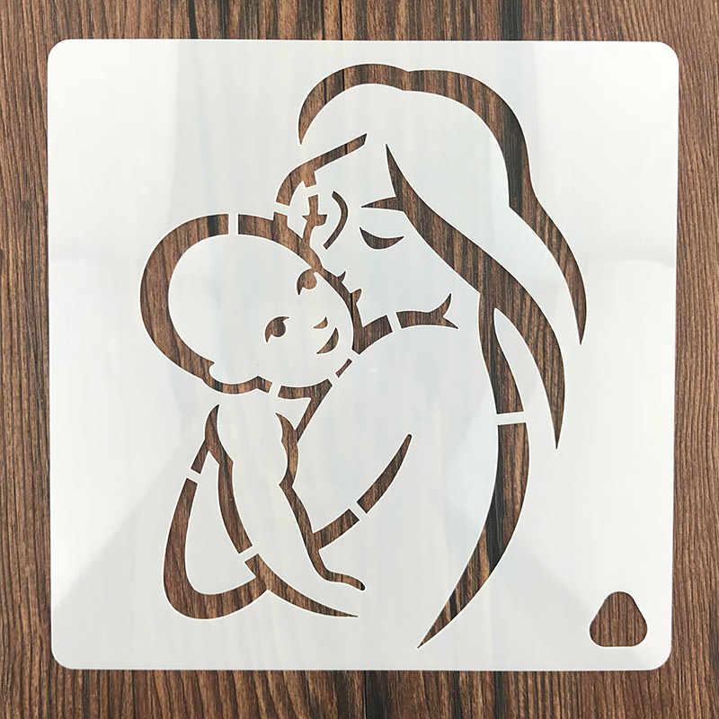 แม่เด็กทารกพ่อสำหรับ DIY การทำสมุดภาพพลาสติกทำด้วยมือแม่แบบเค้กศิลปะหัตถกรรมไดอารี่การตกแต่งภาพวาดสเปรย์เครื่องมือ