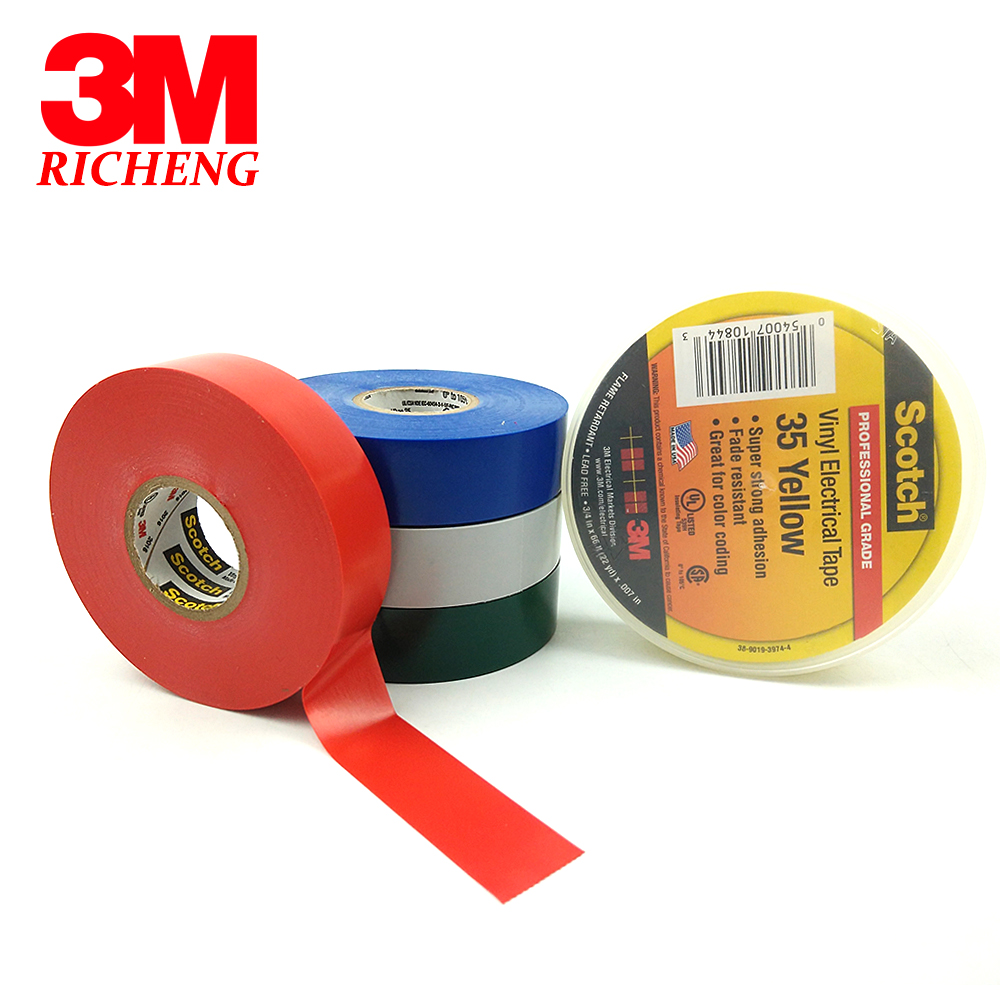 0.13mm × 18mm × 3M Fade Resistant 3 ROLLS Electrical PVC Insulation Tape