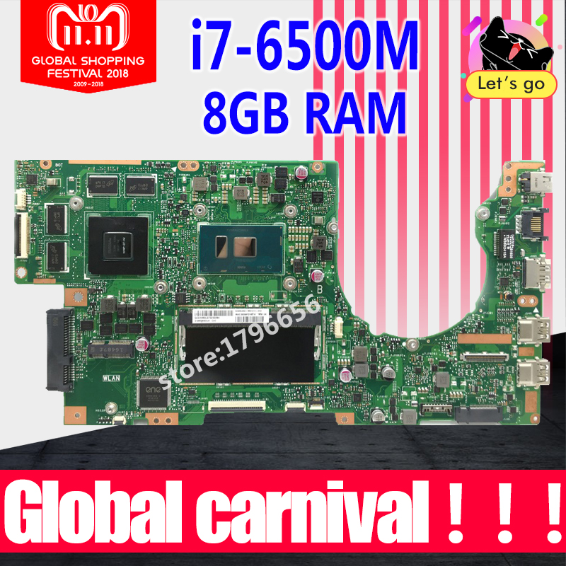 K501UX rev2.0 I7-6500 8GB RAM high configuration For ASUS K501UB K501U A501U V505U laptop motherboard K501UX motherboard k501ux dm282t