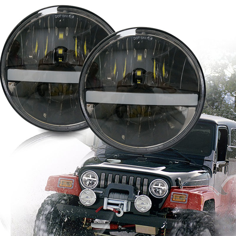 Newest 7 inch Black led projector headlight headlamp 7'' 36W cars running lights for Jeep Wrangler LED Driving lamp Spot light 1 pcs lyc for led light bar jeep jk jeep wrangler led light bar mount spot flood pattern mini led lights for cars flash lamp