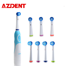 AZDENT 8 Heads Electric Toothbrush Rotating Type Brush Heads Battery Operated Teethbrush Hot Sell Teeth Whitening For Adults