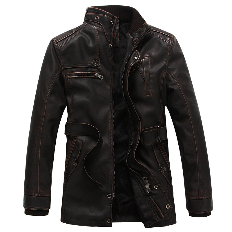 Leather Jacket Men 2018 Winter Thick Warm Long Coat Motorcycle Faux Leather Jacket Men Overcoat Jaqueta De Couro Masculina 3XL