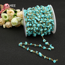 Compare Prices DIY Green Irregular Rosary Style Beaded Chain Boho Copper Tone Wire Wrapped Beaded Chain Rosary Chain Turquoise Beads Jewelry 5m