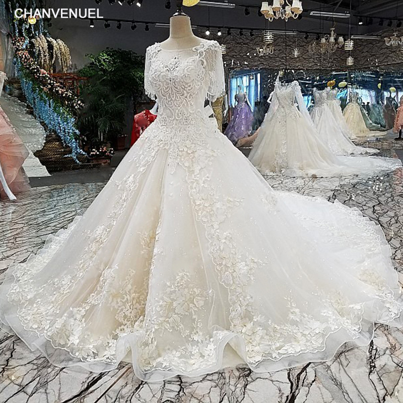 LS00248 vestidos de novia 2018 sexy wedding dresses vestido de noiva lace flowers ivory o-neck gown wedding dress bruidsjurken