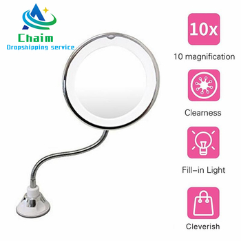 360 Rotation Flexible Gooseneck 10x Magnifying LED Lighted Bathroom Makeup Shaving Mirror Adjustable Bendable Gooseneck ultra flexible mirror
