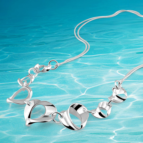 fashion  jewelry women necklace ,solid genuine 925 pure silver heart pendants necklace;