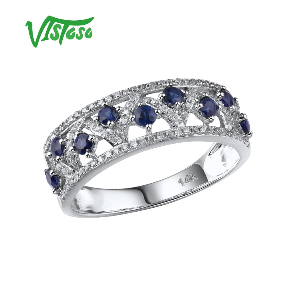 VISTOSO Genuine 14K White Gold Rings For Women Sparkling Diamond Fancy Blue Sapphire Engagement Anniversary Unique Fine Jewelry