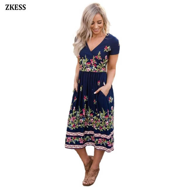 Zkess New Women Fashion Floral Print Faux Wrap Boho Dress Causal V-Neck Fit  and Flare Party Midi Dress with Pockets LC610110 9f629045fc67