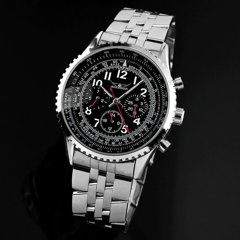 classique aviator acier inoxydable complet de luxe calendrier date jour affichage emballage