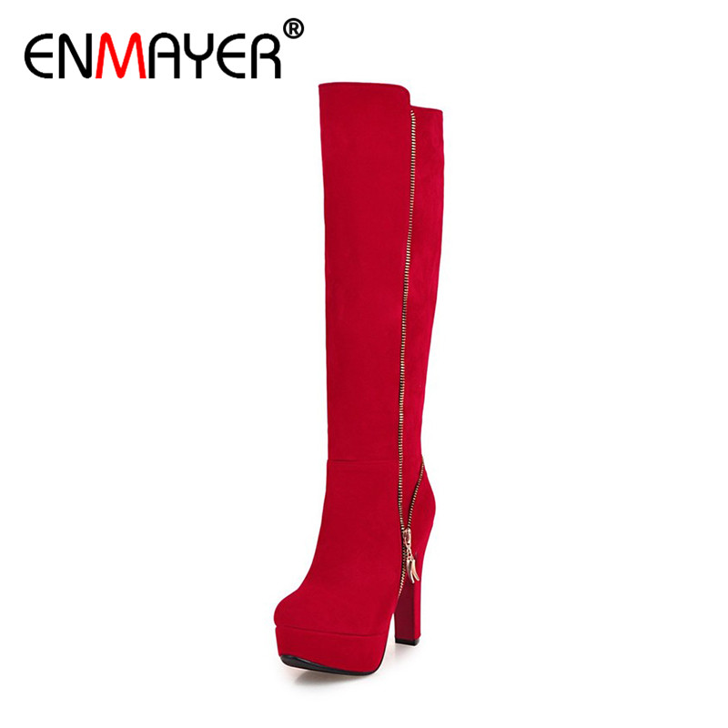 ENMAYER Sexy Green Shoes Woman High Heels Zippers Winter Boots Platform Shoes Large Size 34-47 Knee-high Boots Round Toe Shoes цены онлайн