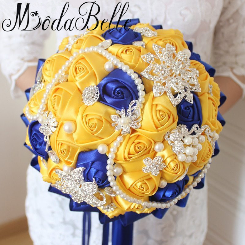 Modabelle yellow royal blue wedding bouquets with crystal bridal modabelle yellow royal blue wedding bouquets with crystal bridal bouquets bridesmaid artificial satin roses bride flowers 2017 in wedding bouquets from junglespirit Images