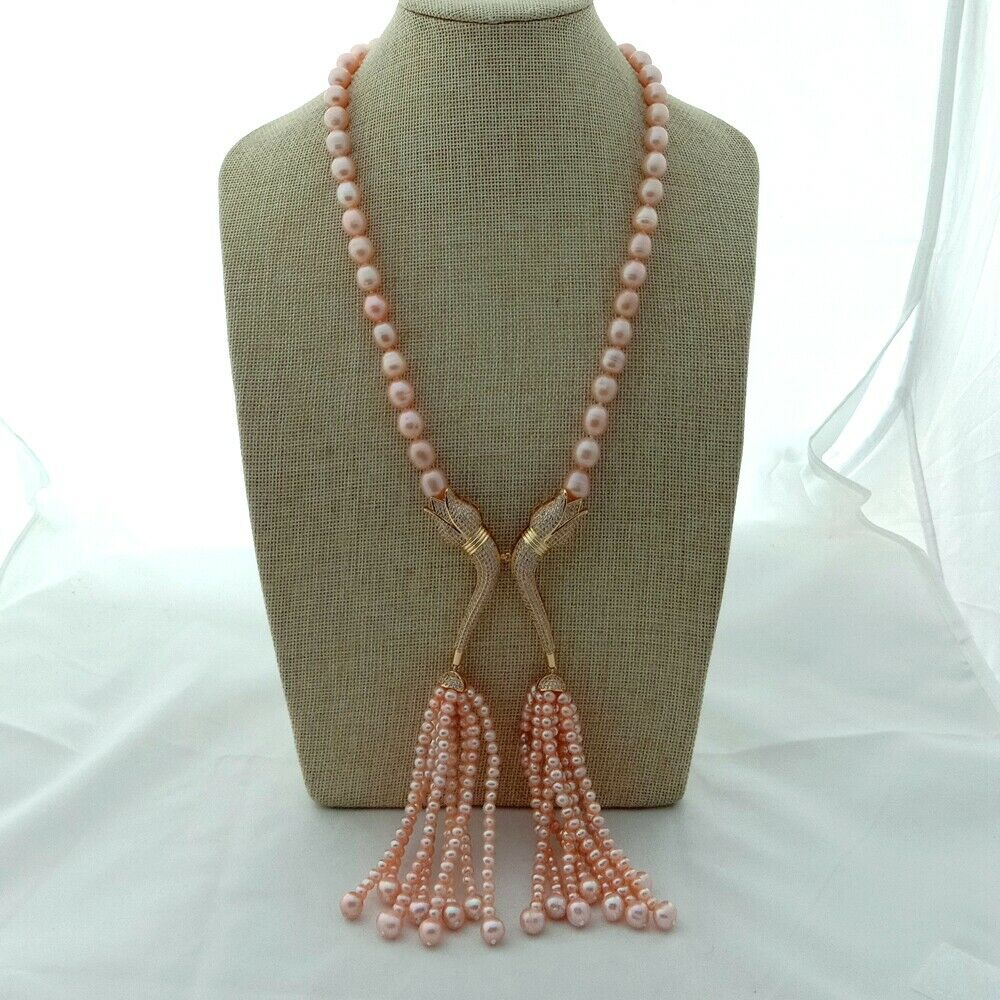 23 Pink Pearl Accessory Tassel Necklace Jewelry CZ Pendant23 Pink Pearl Accessory Tassel Necklace Jewelry CZ Pendant