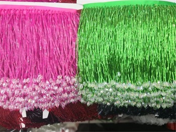 Pink and green color  unique and hot selling 5yards 14cm beads with white stones tassel fringe for wedding decoration dress