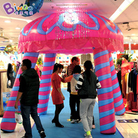 Inflatable jellyfish model kiosk booth tent for Ocean theme toys 3x3x2.88Meters