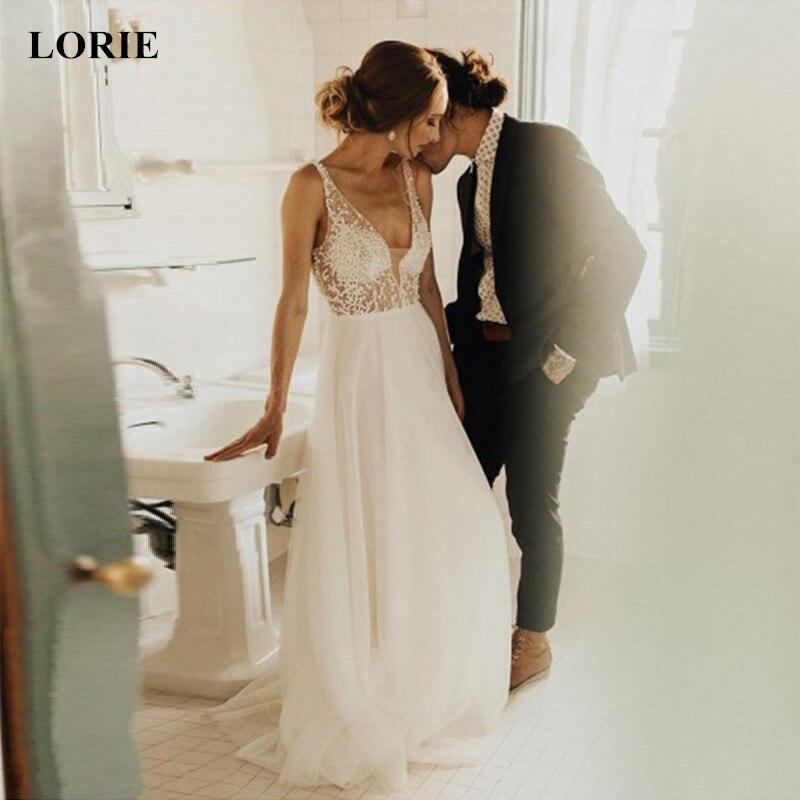 LORIE robes De mariée 2019 nouveau été Illusion Vestido De Noiva col en V pas cher en mousseline De soie une ligne plage robe De mariée taille personnalisée