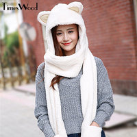 New Women Cat Ear Cute Hats Sets With Scarf Glove Warm Cotton Winter Caps Kawaii
