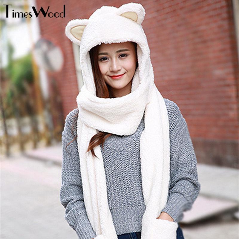 New Women Cat Ear Cute Hats Sets With Scarf Glove Warm Cotton Winter Caps Kawaii Lovely Style Headwear Girlfriend Gift
