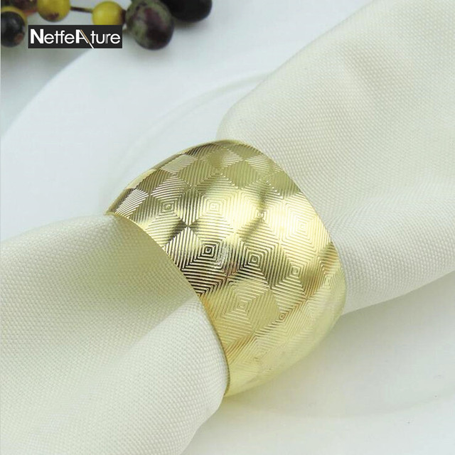 6PCS Metal Gold Alloy Metal Serviette Holder Bulk Napkin Rings