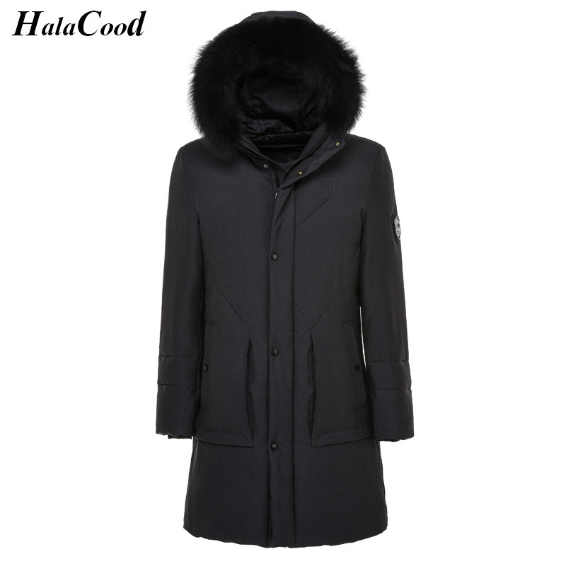 Hot Sell New Male High Qualit 90% White Duck Down Long Jackets Hooded Zipper Windproof Mens Winter Warm Coat Large Size Outwears