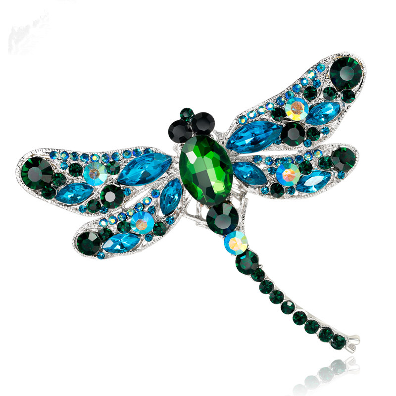 High Quality Fashion Dragonfly Crystal Jewelry Shining Brooch Bouquet Vintage Beautiful Brooches Gifts For Women Accessories