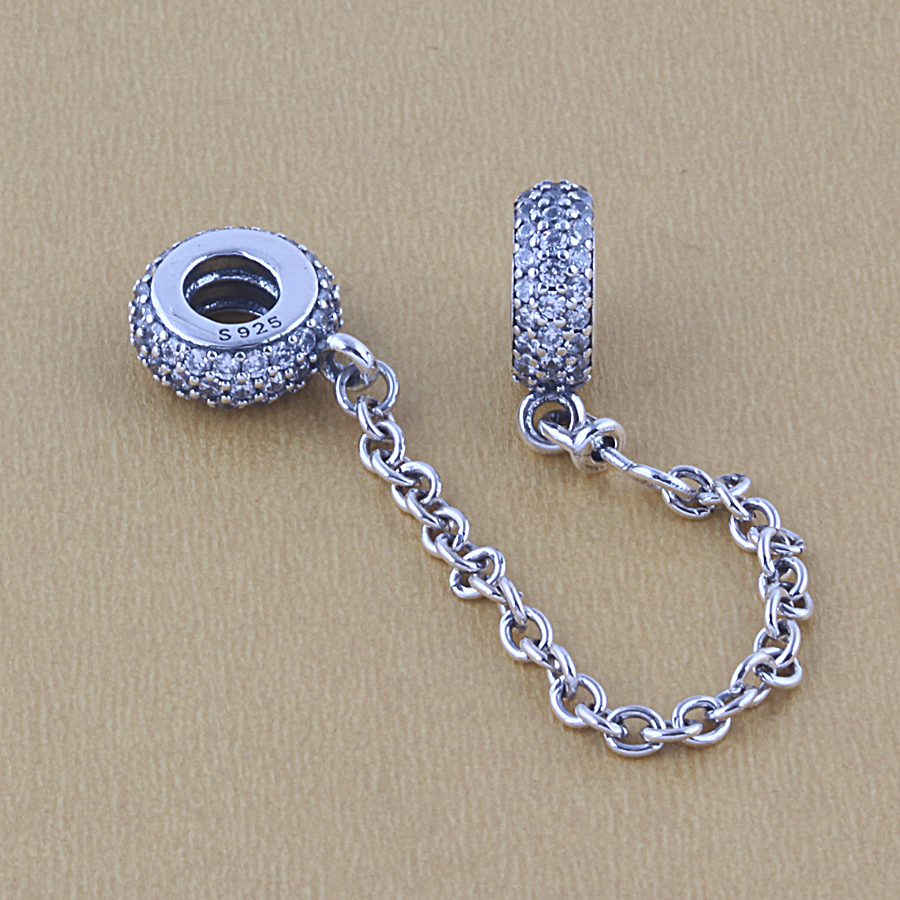 ZMZY Fits Pandora Bracelet 100 Original 925 Sterling Silver Charm Vintage Star Safety Chain Beads DIY