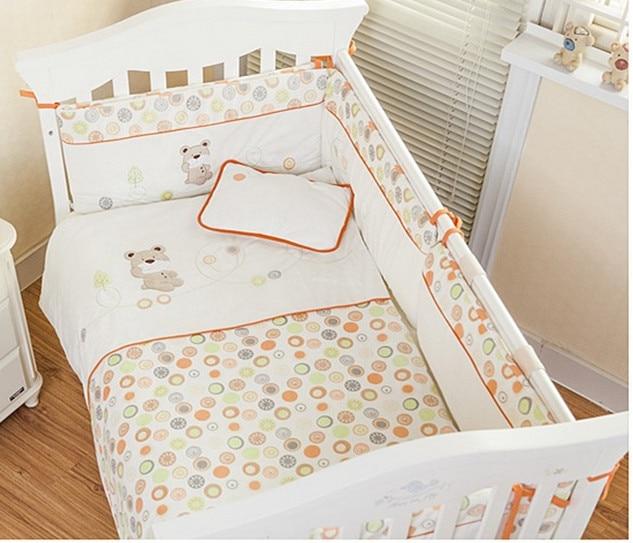 Promotion! Velvet Crib Baby Bedding Set Animal Baby Nursery Cot Bedding Crib Bumper/Quilt (bumper+sheet+pillow+duvet)
