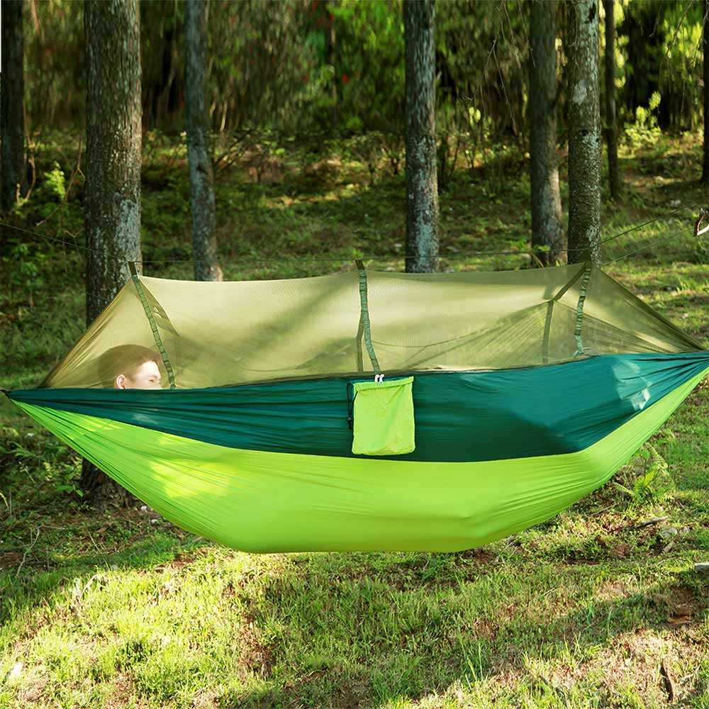 Outdoor Camping Survivor Hammock with Mosquito NetHanging Nylon (Carabiners &Ropes Included) Garden Camping parachute Fly Tent