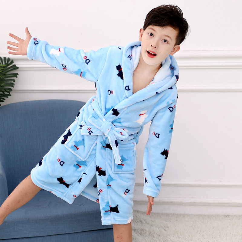 Kids Bathrobe for Boys Spring Winter Lively Animal Print Pajamas Warm Children Pyjama Teenager Boys Bath Robe Swimming Clothing 3