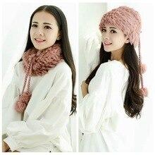 New Genuine Knitted Rex Rabbit Fur Hat Fashion Ear Muff Ear Warmer Scarf Cap Winter Rabbit Fur Scarves