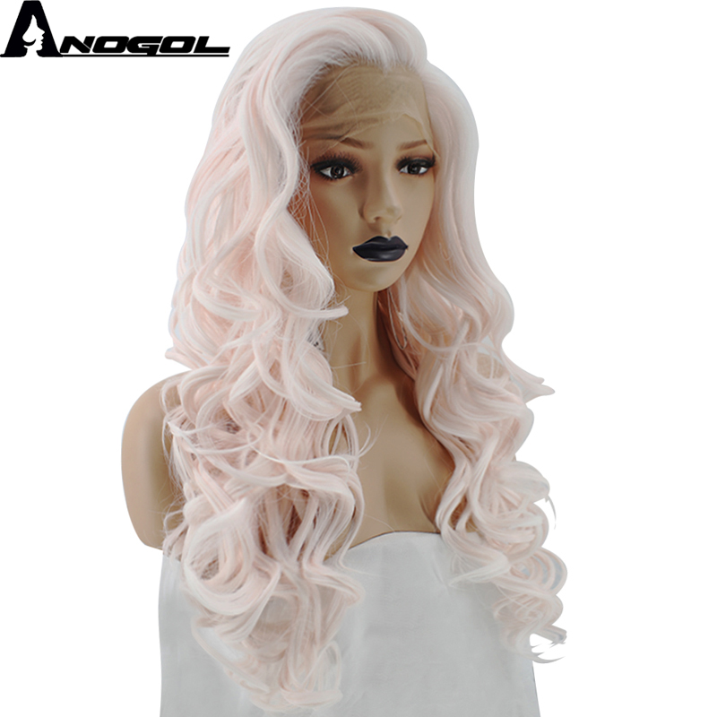 Anogol High Temperature Fiber Widow Peak Long Deep Wave Light Pink Synthetic Lace Front Wig For White Women Cosplay Party