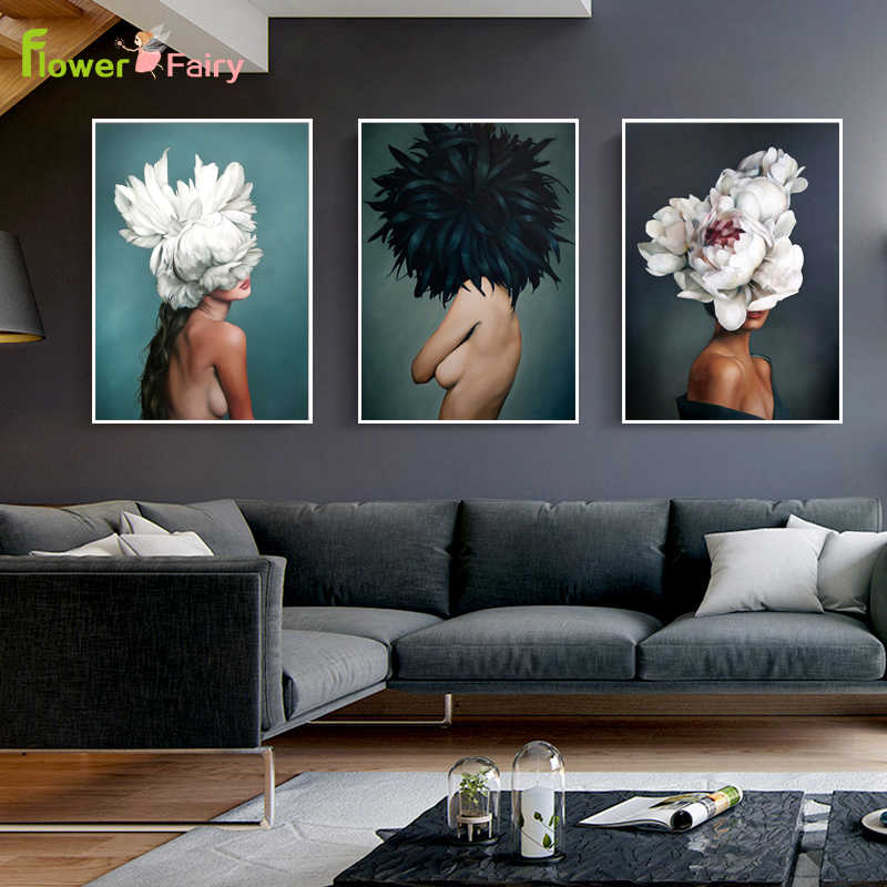 Abstract Painting Plants Flower Beauty Lady Posters And Prints Wall Art Canvas Painting Girl For Living Room Modern Unframed