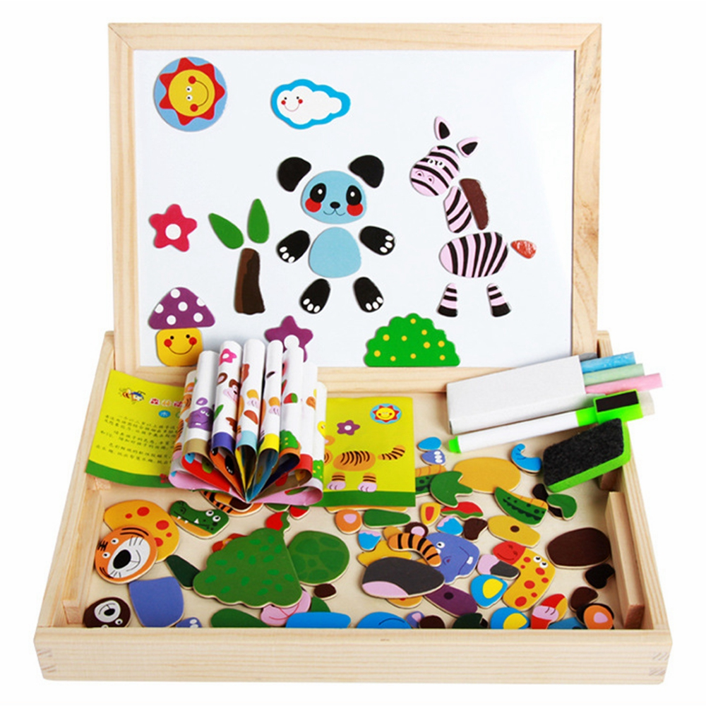 New Arrival Drawing Writing Board Magnetic Board Puzzle Double Easel Kid Wooden Toy Gift Children Intelligence Development Toys