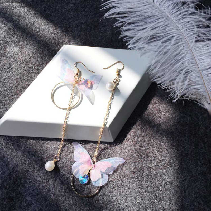 2018 Korean Jewelry Retro Asymmetric Butterfly Earrings Long Wings Circle Earrings Fashion Jewelry Earrings For Women Oorbellen