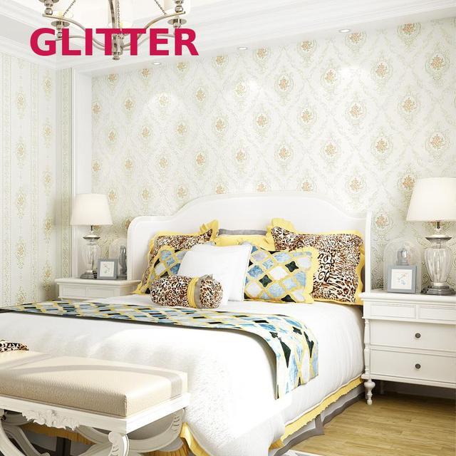 Italian Style White Wallpaper 3d Embossed Flowers Wallpaper Girls ...