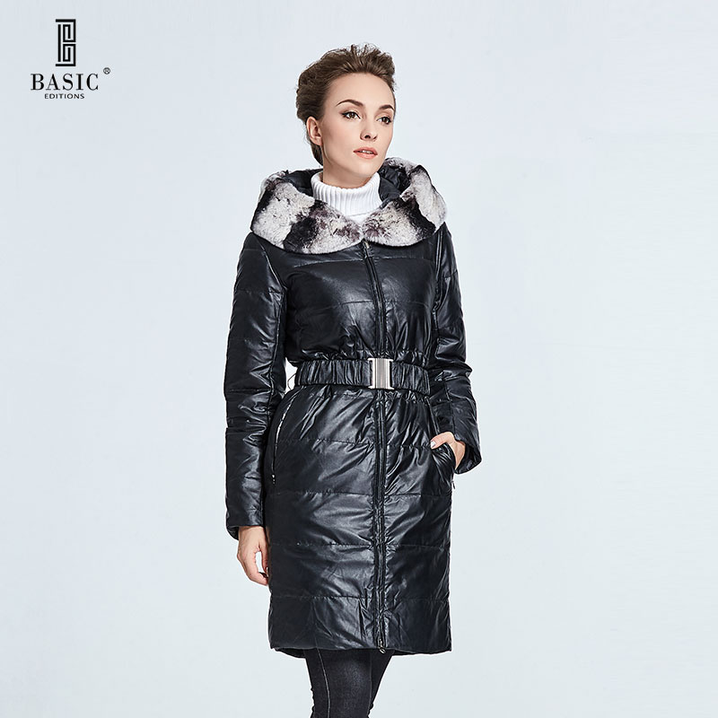 BASIC-EDITIONS Womens Winter Jackets and Coats Rabbit Fur Collar Long Down Jacket Hooded Slim Belt DY12018 basic editions fall winter brown metallic silk fabric cotton coat with rabbit fur collar with belt covered button 7001d11