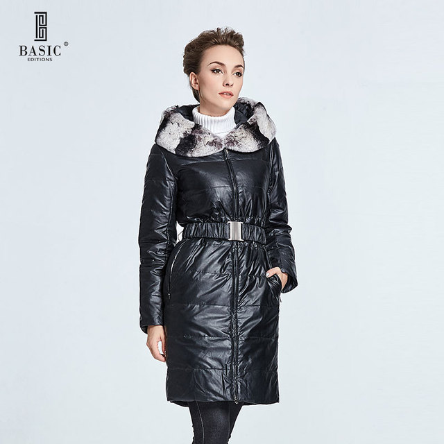 BASIC-EDITIONS изданий Женская зимние куртки и пальто шерсти кролика воротник с длинными куртка с капюшоном Вниз Тонкий пояс DY12018